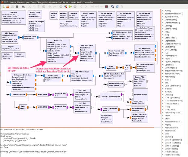 LilacSat1 Demod GNU Radio Companion Flow